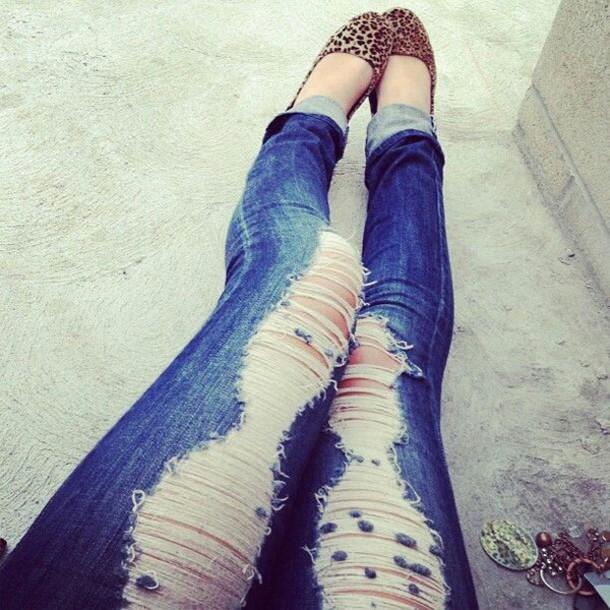 jeans blue jeans shredded