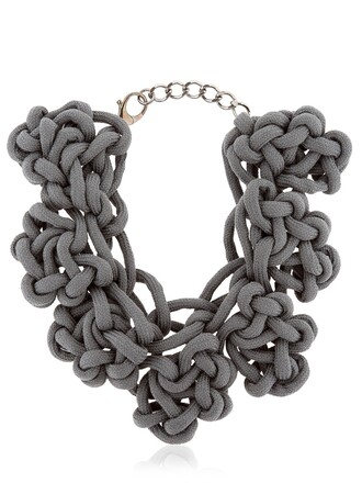 necklace cotton grey jewels