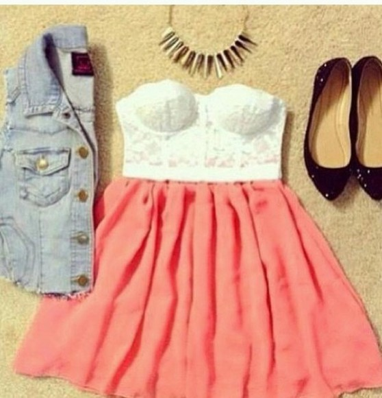shirt denim vest crop tops skater skirt