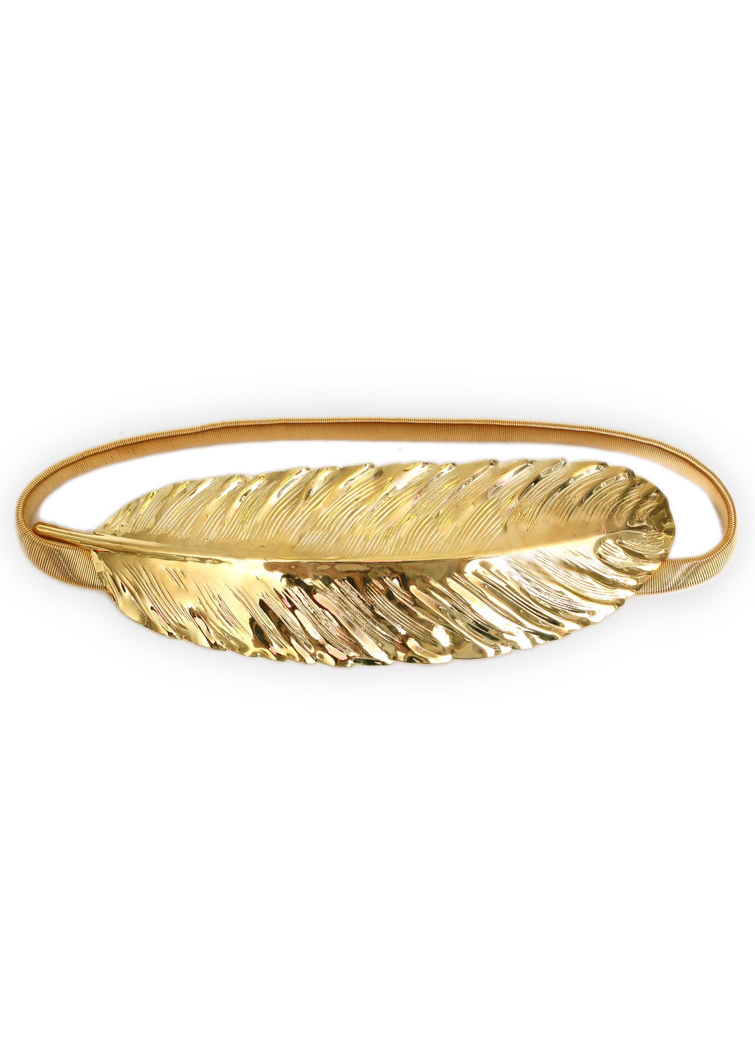 Bgo & me: Cinturón elástico con pluma dorada