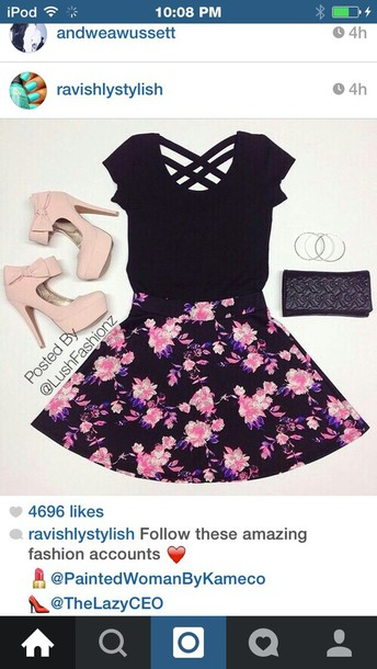 skirt floral skirt date outfit