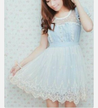 dress kawaii dress kfashion jfashion girly blue lace boho loli kawaii korean dress lace dress tulle dress cute prom dress