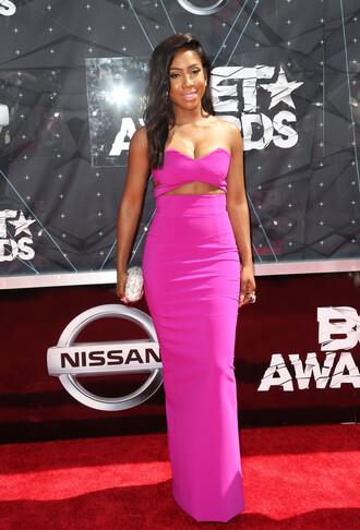 dress gown pink pink dress strapless bustier prom dress sevyn streeter bet awards