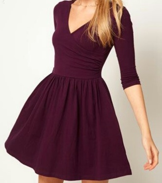 dress powerful burgundy colorful cute neckline