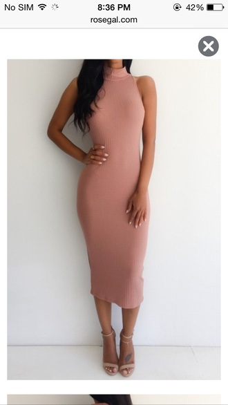 turtleneck dress dusty pink bodycon bodycon dress knitted dress nude sandals ankle strap heels ankle strap classy office outfits midi dress midi turtleneck nude nail polish pink dress blush pink dress nude shoes