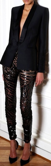 pants,sequins,geometric,black,leggings,jacket