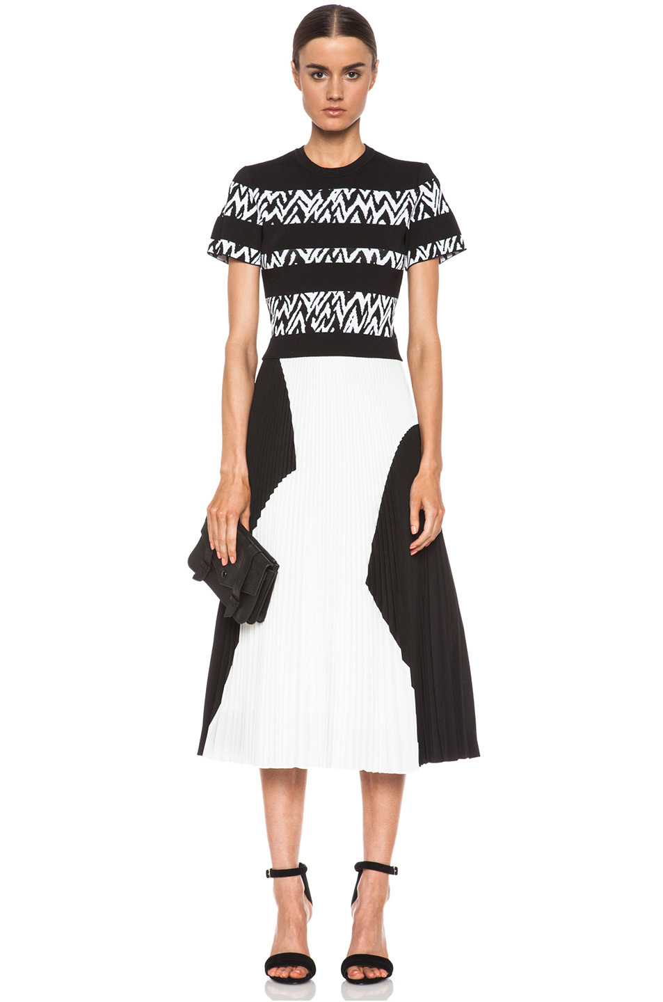Proenza Schouler | Pleated Poly Skirt in Black & White