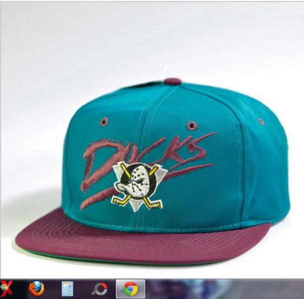Hat Mighty Ducks Cap Swag Snapback Vintage Purple Duck