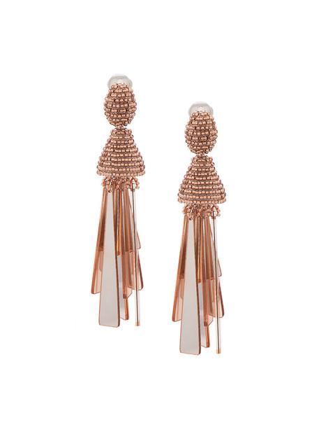 women plastic beaded earrings grey metallic jewels
