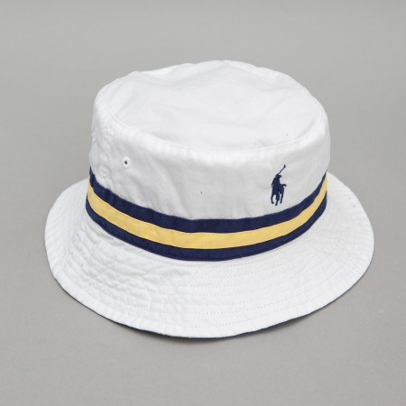 Polo ralph lauren reversible beach bucket hat (white / navy / yel