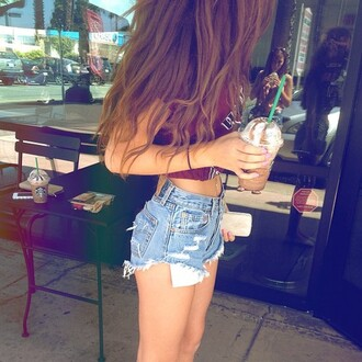 shorts short sexy belly button ring starbucks coffee t-shirt hot pants denim fashion cute short shorts high waisted shorts summer outfits summer girl crop tops red top burgundy top booty shorts cut off shorts