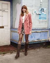 jacket,blazer,brown boots,tights,pink blazer,turtleneck,floral skirt