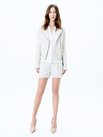 lookbook fashion jacket vince white shorts asos river island