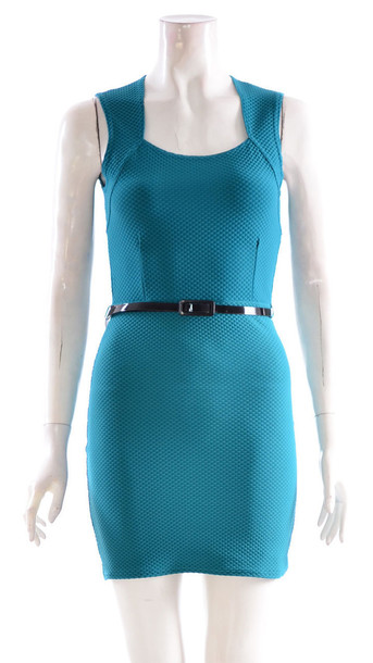 1ac8d491a39e dress womens belted sleeveless bodycon dress turquoise