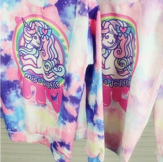 sweater unicorn tie dye kawaii