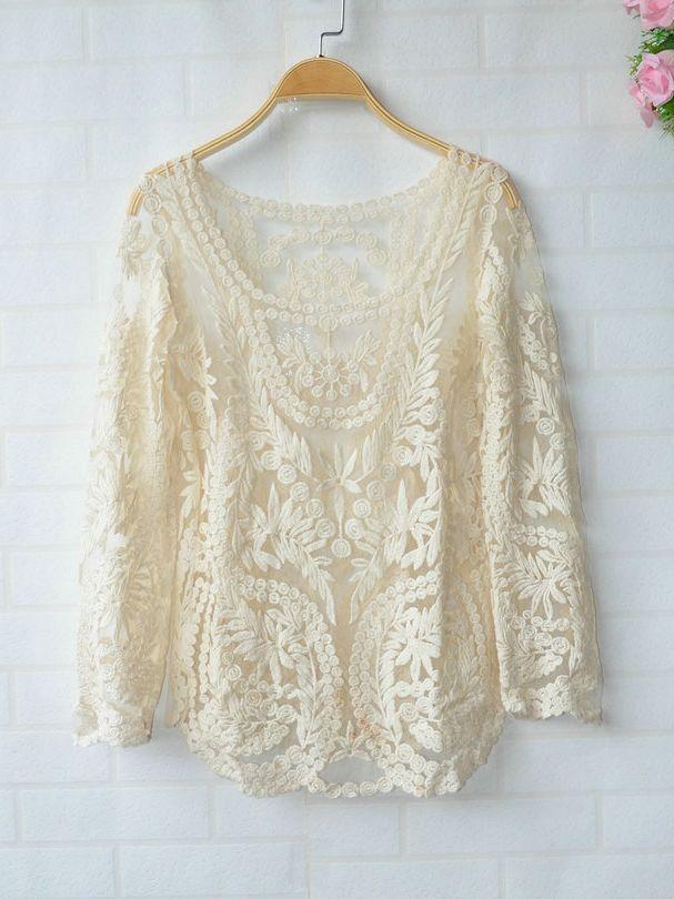 Beautiful crochet lace long sleeve blouse top