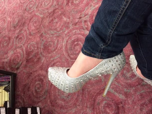 shoes white high heels rhinestones prom shoes high heels