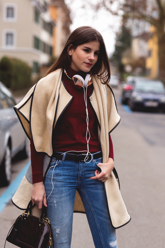 the fashion fraction blogger jeans belt bag headphones burgundy sweater winter outfits
