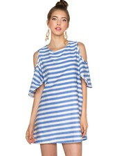 striped dress,babydoll dress,cold shoulder dress,summer dress,affordable dresses,pixie market,light blue,dress