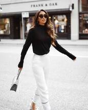 pants,sunglasses,tumblr,white pants,wide-leg pants,top,black top,bag,cat eye,work outfits,office outfits