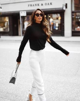 pants sunglasses tumblr white pants wide-leg pants top black top bag cat eye work outfits office outfits