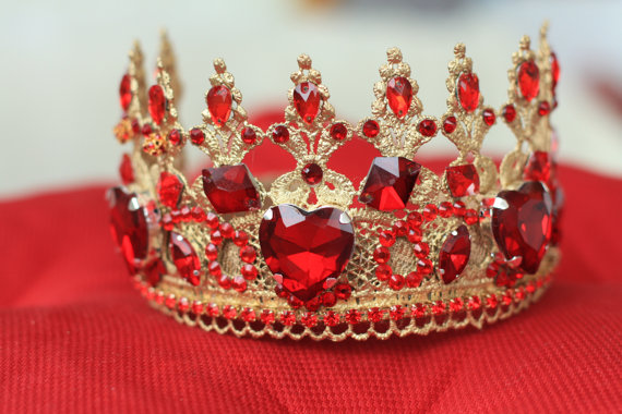 Womens gift Red and Gold Gift for her Christmas gift Red heart crown ... fcc0d2e903b