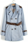 Double Breasted Lapel Collar Belted Coat - OASAP.com