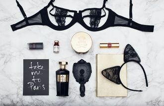 underwear tumblr bra black bra lace bra perfume lipstick maison close lace cat ears headband anna sui mirror print paris