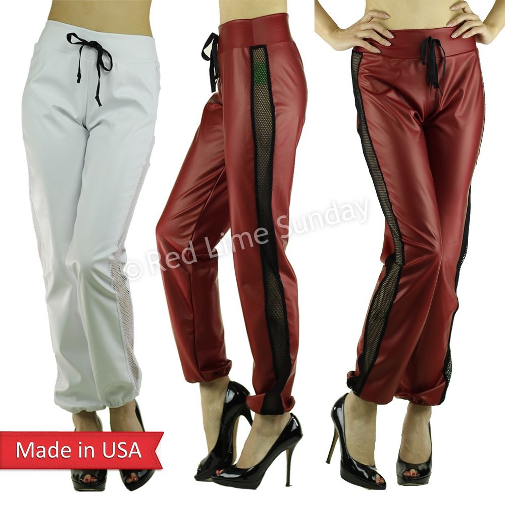 Sexy Red White Faux Leather Mesh Fishnet Panel Jogger Jogging Pants Bottom USA
