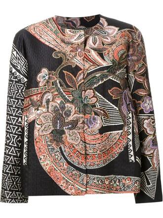 jacket women floral print silk orange paisley