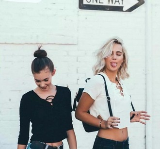 top girl girly girly wishlist crop crop tops cropped black white lace up ogvibes black and white casual instagram style trendy fashion cute dope grunge
