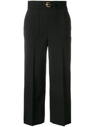 loose cropped women spandex fit black wool pants