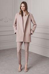 coat,blush pink suit,blush pink trousers,blush pink coat,tailoring,ralph lauren,pink suit,peep toe heels,blush pink pants,tailored suit