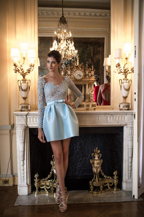 dress fancy homecoming dress lace dress blue lace dress baby blue cocktail dress cocktail dress