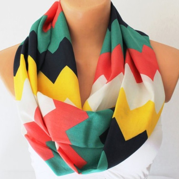 clothes chevron cute yellow black white green scarf red