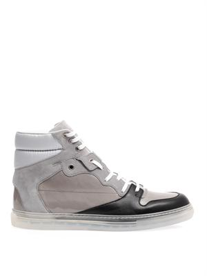 Block leather and suede trainers