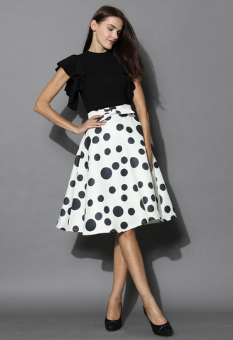 skirt my dots and bow a-line skirt in white chicwish dots a-line skirt white skirt