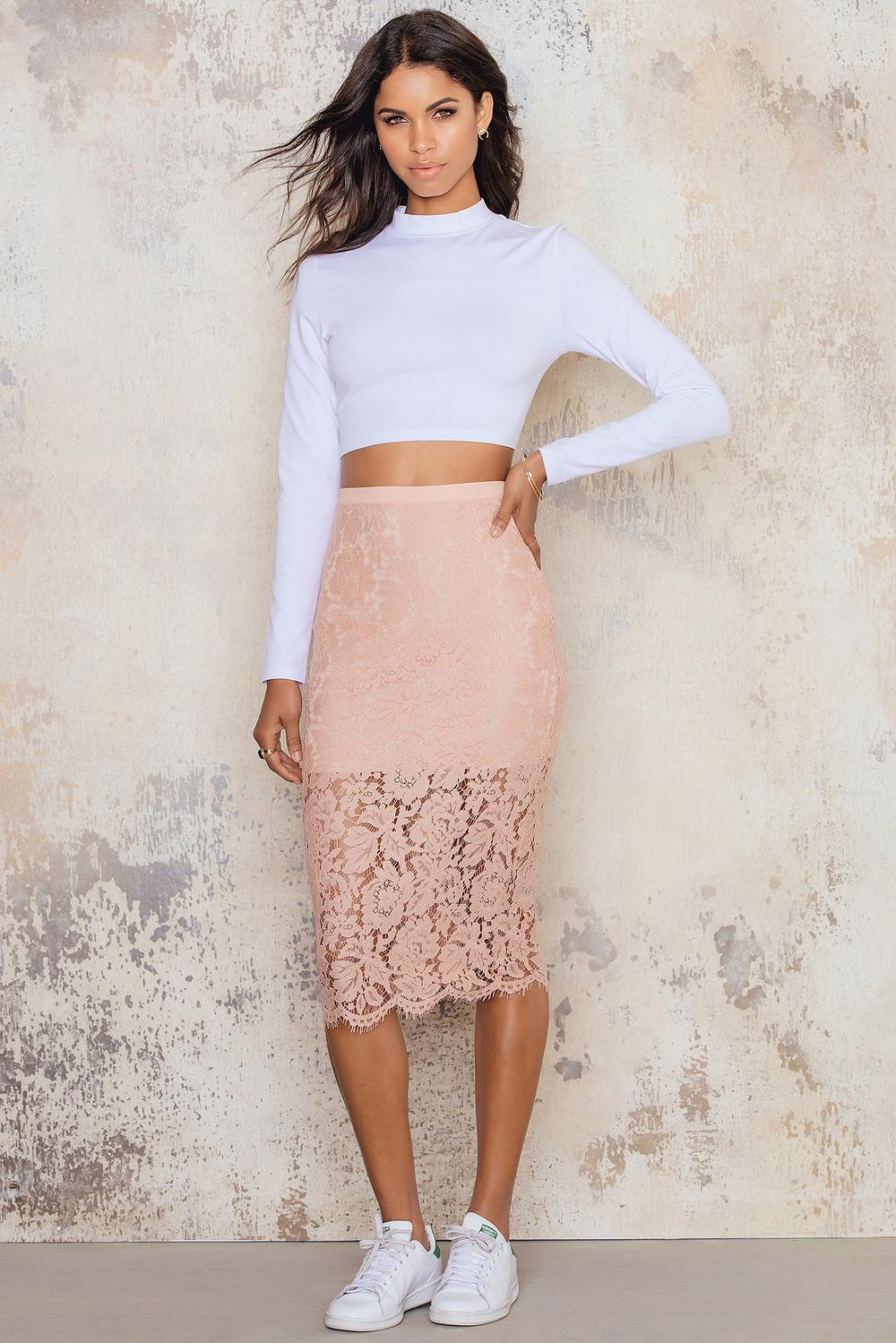 NA-KD Lace Midi Skirt