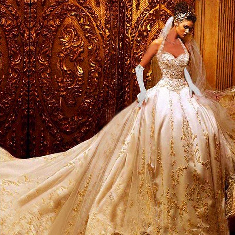 Hot New 2015 Best Quality Custom Ivory Satin Gold Embroidered