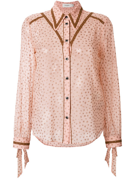 coach blouse women print purple pink top