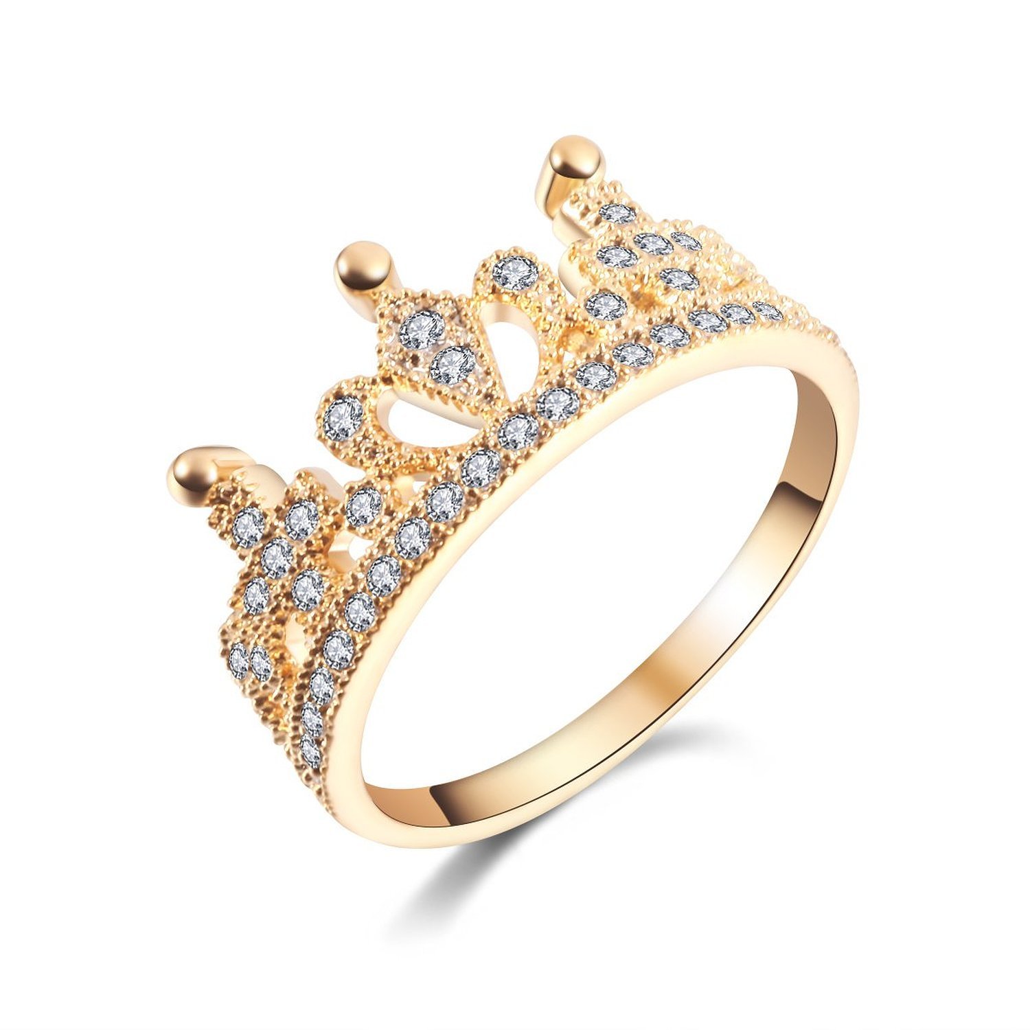 Amazon.com: mp rhodium plated cute crown golden ring 061795j j0701 size us 6: jewelry