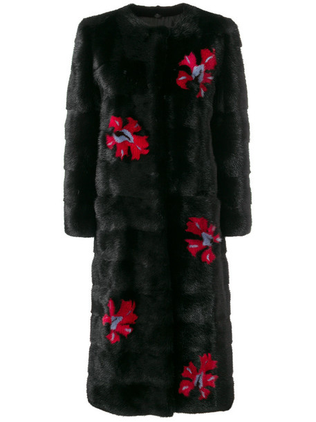 SIMONETTA RAVIZZA coat fur women black silk