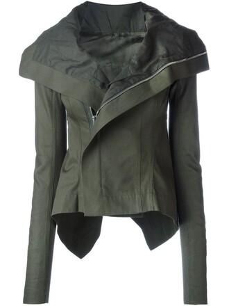 jacket biker jacket high high low green
