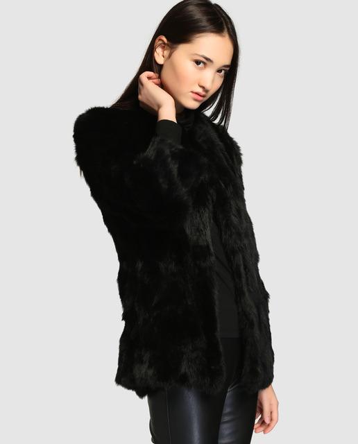 9ddc27bee2b Abrigo de mujer Easy Wear de pelo de conejo en azul