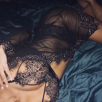 underwear black sparkle robe sexy lace lingerie matching set lingerie set