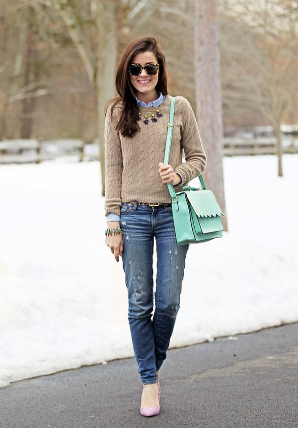 classy girls wear pearls sweater shirt jeans bag shoes belt jewels
