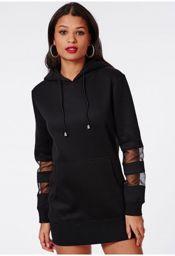 Mesh panel sweater dress black