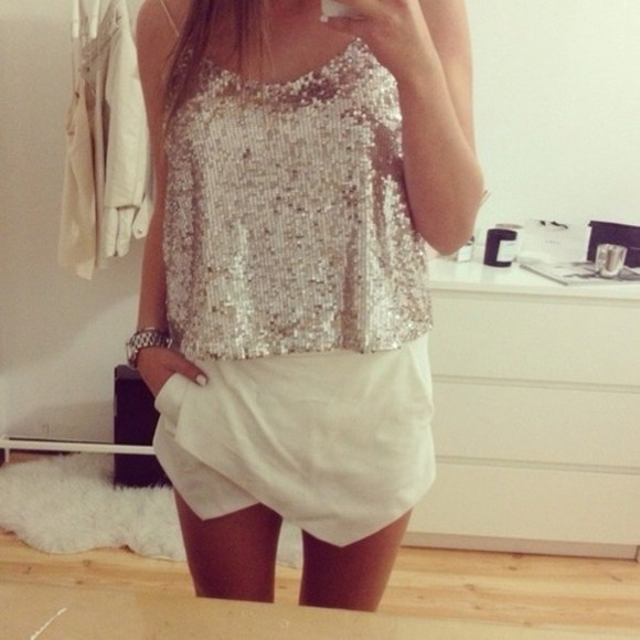 top party glitter blouse sparkles shorts white skirt white, skirt, top outfit spaghetti straps