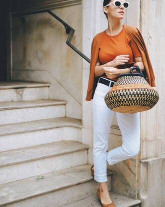 bag tumblr basket bag denim jeans white jeans flats ballet flats t-shirt cardigan mustard sunglasses white sunglasses shoes work outfits office outfits