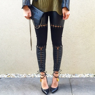 leggings maniere de voir leather suede lace up tie up pants tom ford tie up creepers